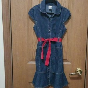 Gymboree size 9 jean dress with red ribbon tie